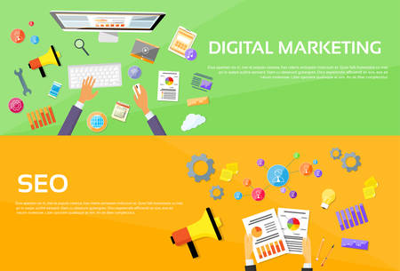 icons site search: Seo Digital Marketing Web Designer Workplace Banner Set Flat Vector Illustration