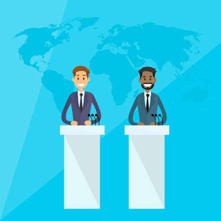 press conference: International Leaders President Press Conference Flat Vector Illustration