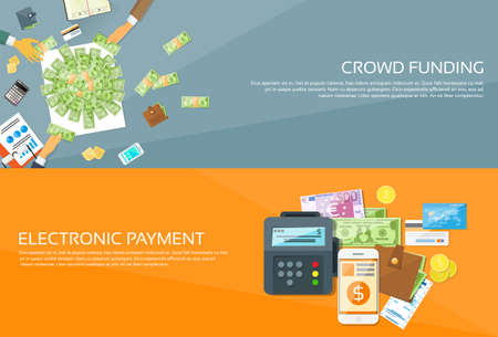 credit card payment: Payment Options Phone Money Credit Carsh Wallet Hands Business People Group Crowd Funding Web Banner Set Flat Vector Illustration