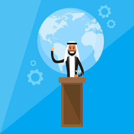 hombre arabe: Líderes Internacionales Ilustración Presidente de la Conferencia de Prensa Árabe plana vectorial Vectores