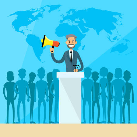 International Leaders President Press Conference Arabic Indian Jew Flat Vector Illustration Vettoriali