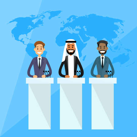 jewish group: International Leaders President Press Conference Arabic Indian Jew Flat Vector Illustration Illustration