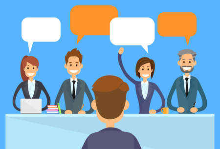 discussing: Business People Chat Discussing Communication Sitting Office Desk Conference Meeting Flat Vector Illustration