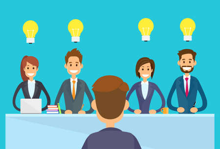 team meeting: Business People Idea Concept Light Bulb Sitting Office Desk, Businesspeople Boss Team Group Conference Meeting Flat Vector Illustration