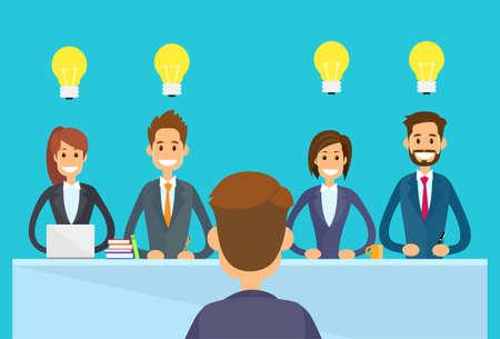 reunion de trabajo: Business People Idea concepto Bombilla Sentado escritorio de oficina, empresarios Ilustración Jefe Grupo Equipos de la conferencia Reunión plana vectorial