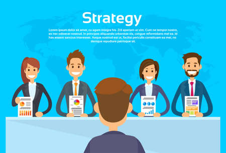 business group: Businesspeople Show Finance Graph, Business Conference Meeting People Group Presentation Flat Vector Illustration