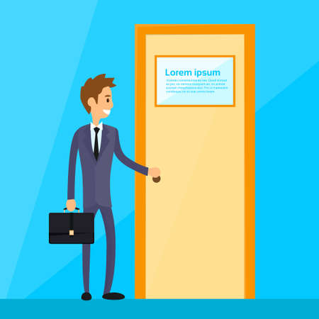 door handle: Businessman Stand Hold Handle Open Door Concept Flat Vector Illustration