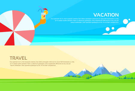 spring summer: Umbrella Cocktail Summer Vacation Holiday Mountain Green Grass Landscape Web Banner Set Flat Vector Illustration