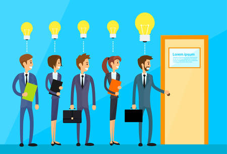 candidate: Business People Idea Concept Light Bulb Hold Door Handle Open, Businesspeople Candidate Flat Vector Illustration