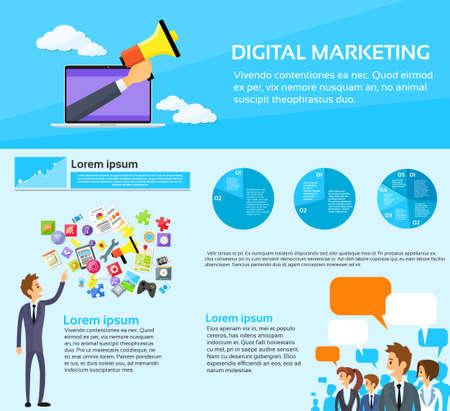 Digital Marketing People Group Social Media Infographic Flat Vector Illustration