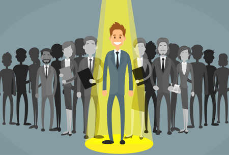 Zakenman Spotlight Human Resource Recruitment Kandidaat, Business Mensen huren Concept Flat Vector Illustration