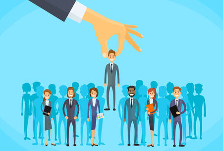 trabajo: Recogiendo Contratación Mano Personas de negocios Candidato Ilustración personas Grupo plana vectorial