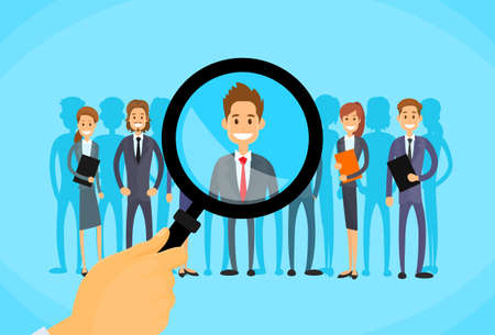 job vacancies: Recruitment Hand Zoom Magnifying Glass Picking Business Person Candidate People Group Flat Vector Illustration