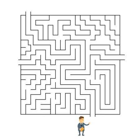 choosing: Businessman Labyrinth Choosing Path Way Challenge Flat Vector Illustration