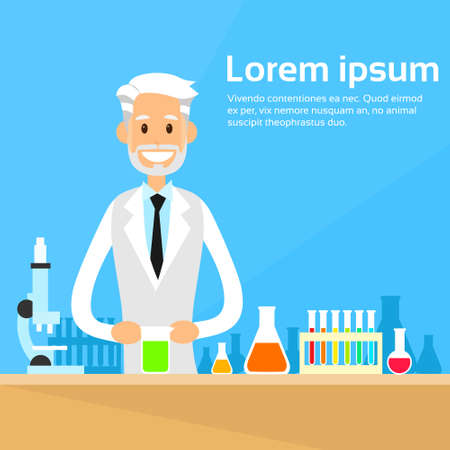laboratory glass: Scientist Working Research Chemical Laboratory Flat Vector Illustration Illustration