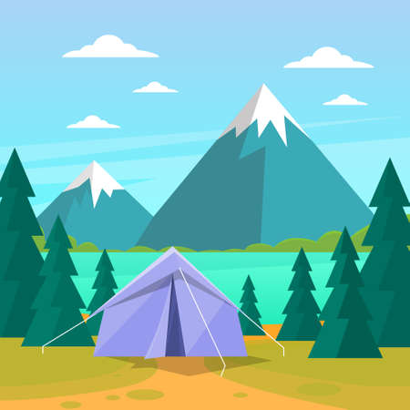 expedition: Tent Camping Tourist Forest Mountain Expedition Flat Vector Illustration Illustration