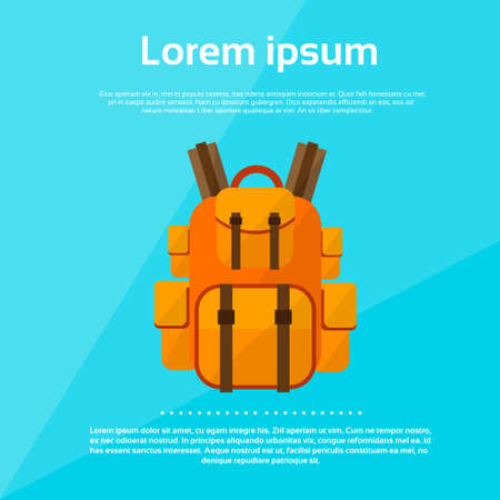 Backpack Tourist Bag Rucksack Flat Vector Illustration