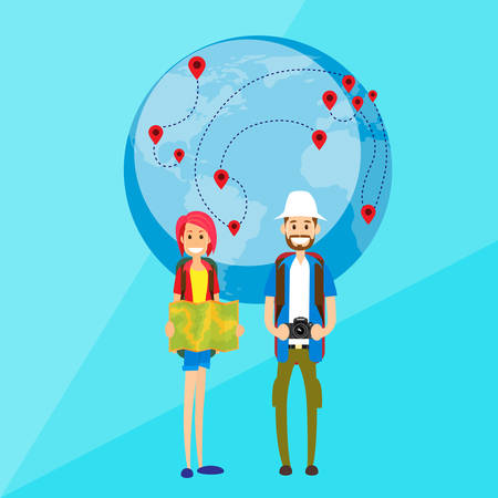 couple hiking: Tourist Cartoon People Couple Man and Woman Characters Wold Map Globe Flat Vector Illustration