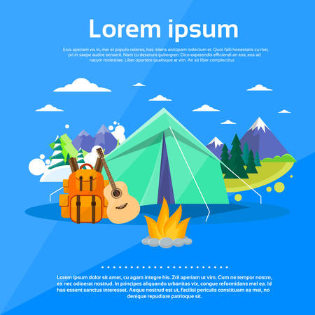 summer camp: Tent Camping Tourist Forest Mountain Expedition Flat Vector Illustration Illustration
