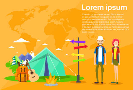 backpacker: Tourist Backpacker Couple Tent Camping Forest Mountain Expedition Flat Vector Illustration
