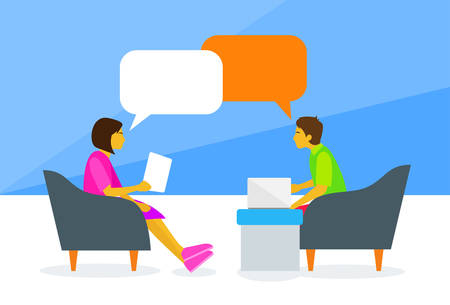 two girls: People Chat Sitting Man and Woman Talking Discussing Chat Communication Flat Vector Illustration