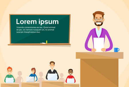 lecture hall: University Professor Lecture Speech Teacher College Class, Group of Students People, Business Seminar Flat Vector Illustration
