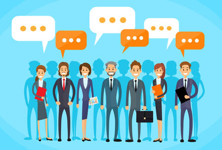 discussing: Business People Group Talking Discussing Chat Communication Social Network Flat Icon Vector Illustration