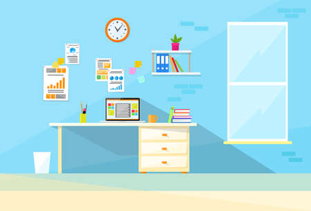 working place: Desk Laptop Working Place Home Room Interior Flat Vector Illustration