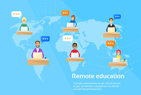 using laptop: Remote Online Education Concept Students Using Laptop Flat Vector Illustration