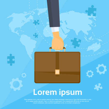 hold: Business Man Hand Hold Briefcase Flat Vector Illustration