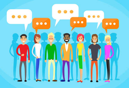 business meeting asian: People Group Chat Social Network Communication Flat Vector Illustration