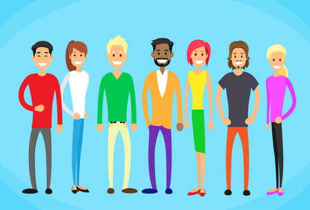 business meeting cartoon: Diverse Mix Race Group People Casual Man and Woman Students Flat Vector Illustration