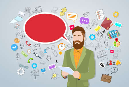 texting: Businessman Using Tablet Computer Man Hipster Style Fashion Guy Over Sketch Background Concept Send Message Internet Texting Chat Bubble Communication Vector Illustration