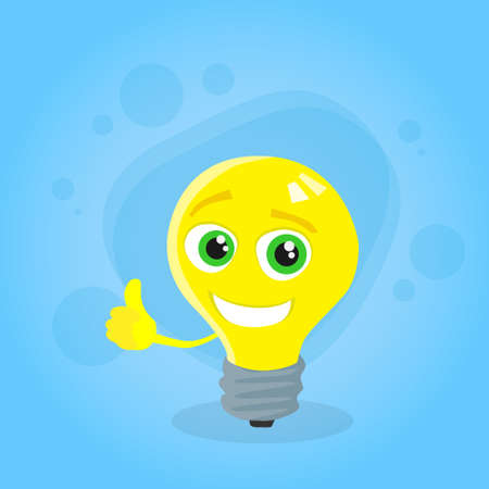 yellow bulb: Light Yellow Bulb Thumb Up Hand Gesture Cartoon Character Concept Idea Smile Face Flat Vector Illustration