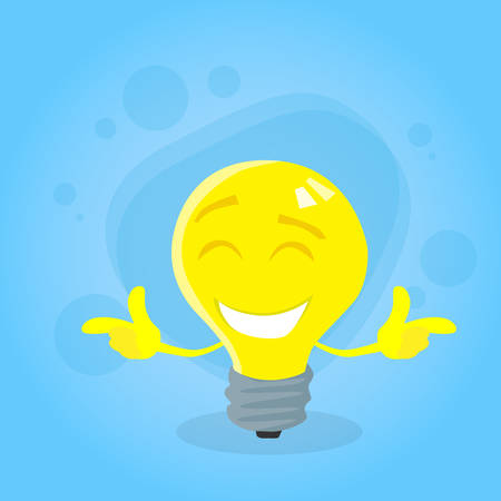 yellow bulb: Light Yellow Bulb Cartoon Character Concept Idea Emotion Happy Smile Face Flat Vector Illustration Illustration