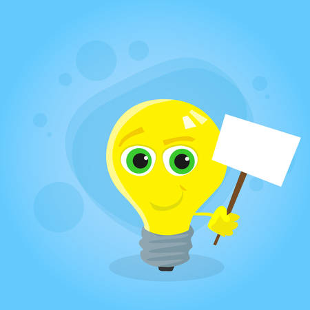 yellow bulb: Light Yellow Bulb Cartoon Character Hold White Sign Board Concept Idea Smile Face Flat Vector Illustration Illustration