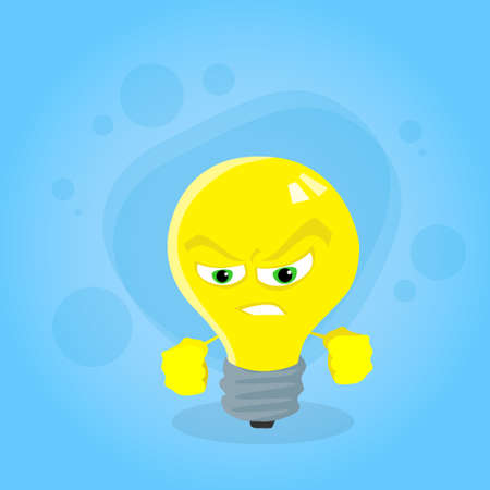 yellow bulb: Angry Light Yellow Bulb Face Cartoon Character Negative Emotion Concept Flat Vector Illustration