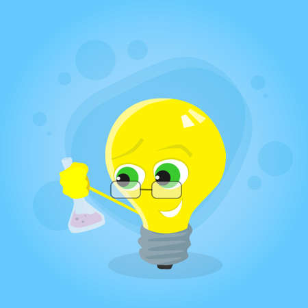 yellow bulb: Light Yellow Bulb Hold Test Tube Science Chemistry Cartoon Character Concept Idea Emotion Happy Smile Face Flat Vector Illustration