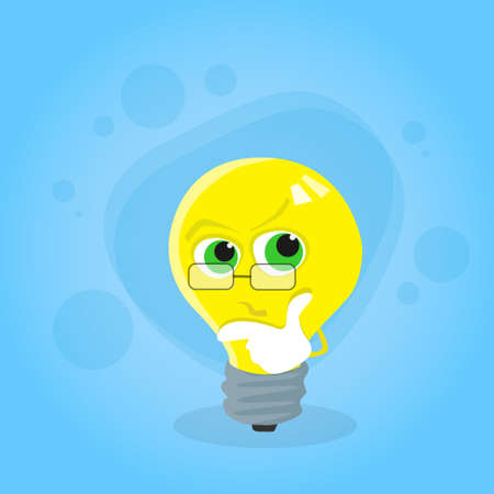 hold hand: Light Yellow Bulb Think Hold Hand on Chin Look Up Cartoon Character Concept Idea Flat Vector Illustration Illustration