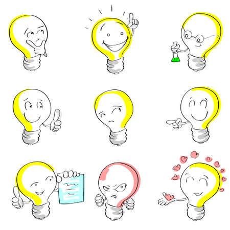 Light Bulb Cartoon Sketch Hand Draw Set Idea Concept Emotion Smile Face Collection Vector Illustration Illustration