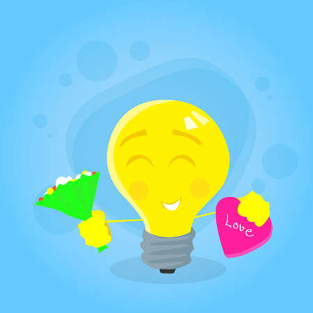 yellow bulb: Yellow Bulb Light Hold Flowers Bouquet Candy Box Gift Cartoon Character Concept Emotion Happy Smile Face Flat Vector Illustration Illustration