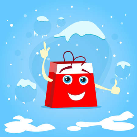 bag cartoon: Red Shopping Bag Cartoon Character Show Point Finger Up Gesture Present Empty Copy Space Christmas Sale Concept Show Flat Vector Illustration Illustration