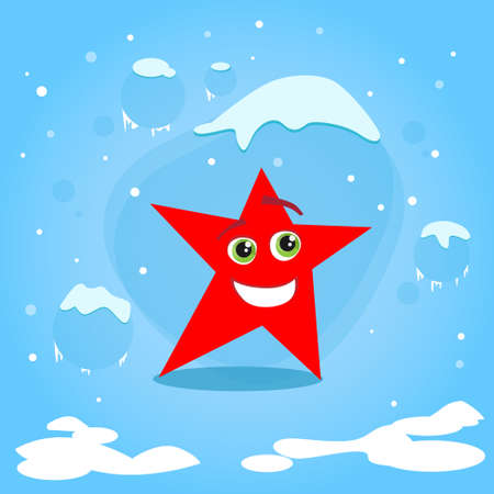 cartoon faces: Christmas Red Star Cartoon Character Concept Blue Snow Background Flat Vector Illustration