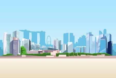 urban colors: Antecedentes de Singapur Vista de la ciudad del rascacielos del horizonte del paisaje urbano con la ilustración vectorial Espacio en blanco