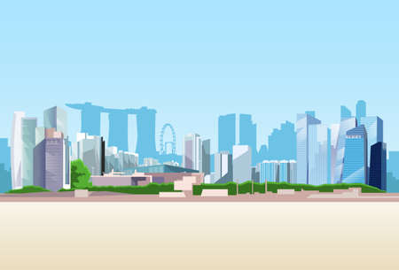 Singapore City View Skyscraper Background Skyline Cityscape with Copy Space Vector Illustration