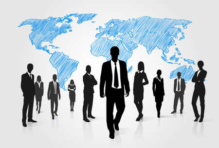 Business People Group Silhouette Over World Global Map Businesspeople Internation Team Walk Forward Vector Illustration Vettoriali