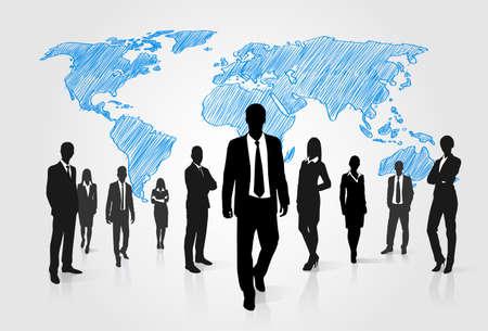 Geschäftsleute Gruppe Silhouette über Weltkarte Globale Geschäftsleute Internation Teams Weg nach vorne Vector Illustration Vektorgrafik