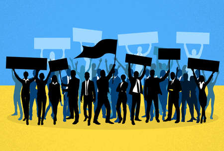 a group of people protesting: Protest People Crowd Silhouette Over Ukraine National Flag, Man Holding Flag Banner Vector Illustration Illustration