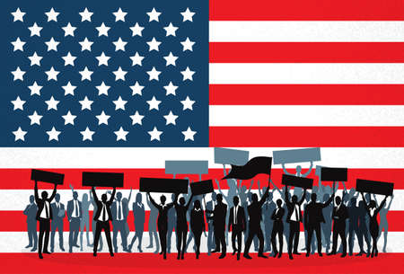 demonstrate: Protest People Crowd Silhouette Over United States National Flag, Man Holding Flag Banner Vector Illustration Illustration