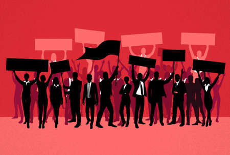 a group of people protesting: Protest People Crowd Silhouette Over Red Background, Man Holding Flag Banner Vector Illustration Illustration